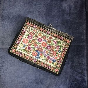 Handbags - Vintage floral carpet clutch